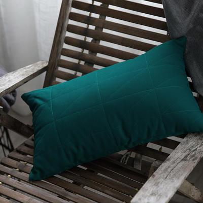随性绗绣长枕靠垫-墨绿 35*50长枕 墨绿