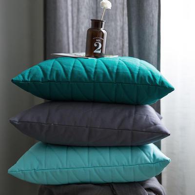 随性绗绣方枕靠垫-墨绿 50X50cm 墨绿