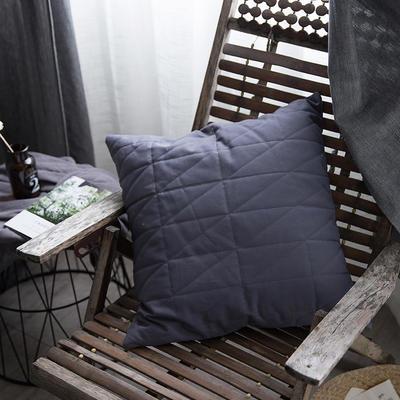 随性绗绣方枕靠垫-浅灰 50X50cm 浅灰