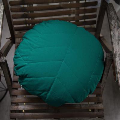 随性绗绣圆枕靠垫-墨绿 R50 墨绿