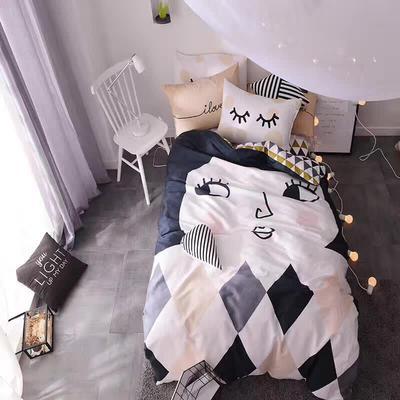 1991-全棉活性大版卡通四件套 1.2标准床单款 小姐