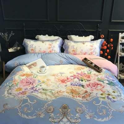 随性1984-80天丝数码四件套 标准床单款200*230 丽娜-蓝