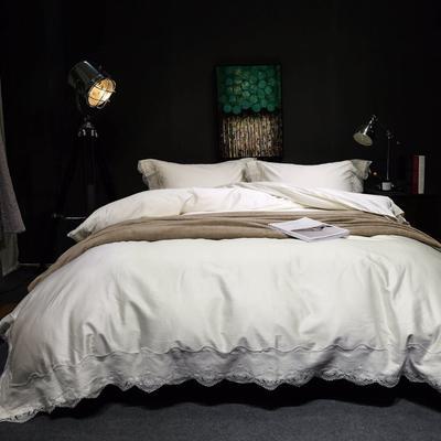 随性TJ1989-100S海岛棉四件套 标准床单款200*230 蕾丝素色  白雾