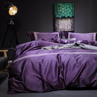随性TJ1989-100S海岛棉四件套 标准床单款200*230 沁  (䆣紫)