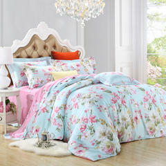 天丝印花四件套 床单款(1.5m-1.8m床) 朝花嫣然-蓝