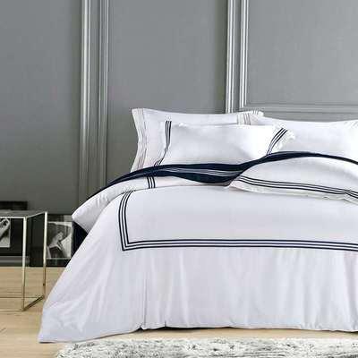 简约素色刺绣工艺三线四件套 200*230cm 蓝调