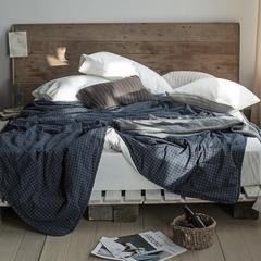 2018新款-LX7015-色织水洗全棉夏被 150*200cm 藏蓝