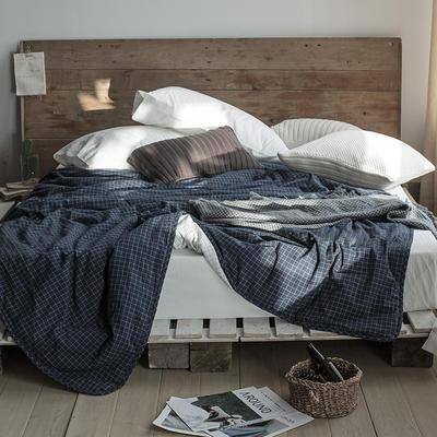 2019新款-LX7015-色织水洗全棉夏被 150*200cm 藏蓝