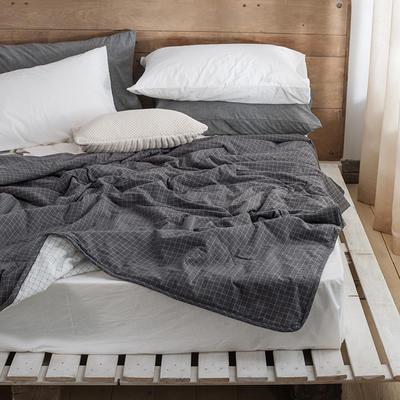 2019新款-LX7015-色织水洗全棉夏被 150*200cm 灰