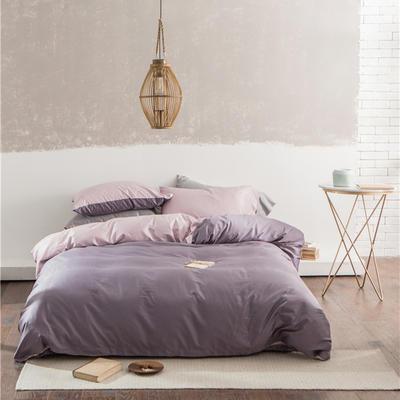 2018新款-TJ1531双拼长绒棉四件套 1.5m(5英尺)床 粉紫