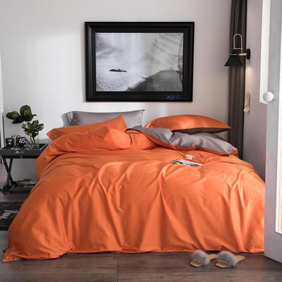 2019新款-60s利丝长绒棉双拼四件套 床单款1.5m(5英尺)床 亮橙