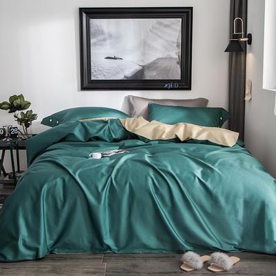 2019新款-60s利丝长绒棉双拼四件套 床单款1.5m(5英尺)床 墨绿