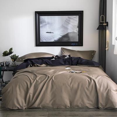 2019新款-60s利丝长绒棉双拼四件套 床单款1.5m(5英尺)床 深咖