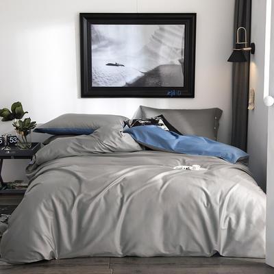 2019新款-60s利丝长绒棉双拼四件套 床单款1.5m(5英尺)床 雾银