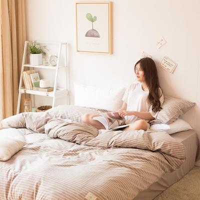 2018新款-tj1533-莫拉色纺条纹四件套 1.8m(6英尺)床 咖