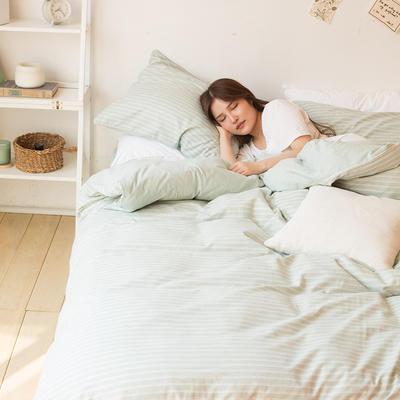 2018新款-tj1533-莫拉色纺条纹四件套 1.5m(5英尺)床 绿