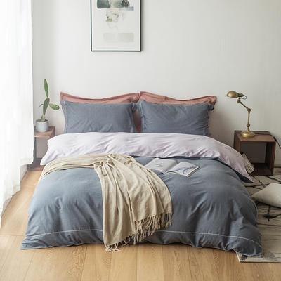 2019新款-tj1535尼维长绒棉色纺四件套 1.5m(5英尺)床 罗曼蓝