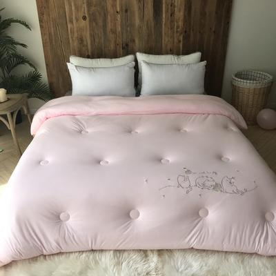 2019新款-BX2072猫咪姐妹云柔被 200X230cm7斤 粉色