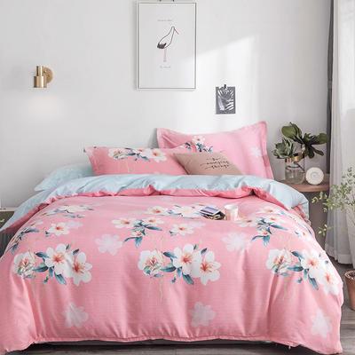 2019新款-TJ1554-亲肤抗菌磨毛四件套 床单款1.5m(5英尺)床 雨季花园