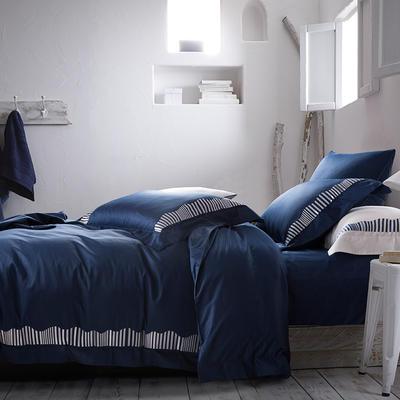 2019新款-TJ1956-60s布朗琪长绒棉四件套 床单款1.8m(6英尺)床 典雅蓝