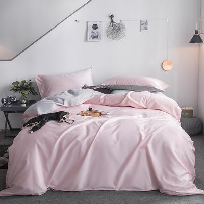 2019新款-60s利丝长绒棉双拼四件套 床单款1.5m(5英尺)床 初荷粉