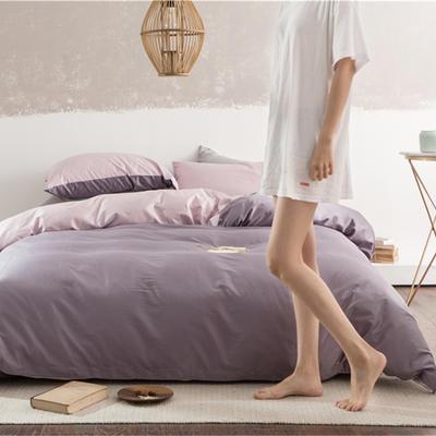 2019新款-60s利丝长绒棉双拼四件套 床单款1.5m(5英尺)床 粉紫