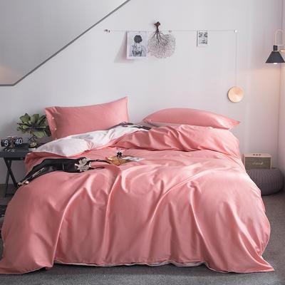 2019新款-60s利丝长绒棉双拼四件套 床单款1.5m(5英尺)床 凤仙粉