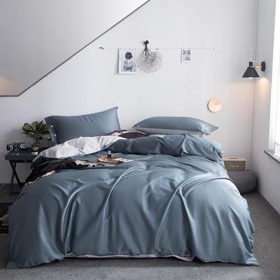 2019新款-60s利丝长绒棉双拼四件套 床单款1.5m(5英尺)床 暮云灰