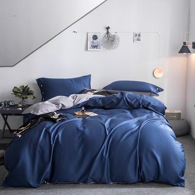 2019新款-60s利丝长绒棉双拼四件套 床单款1.5m(5英尺)床 夏夜蓝