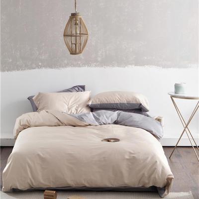 2019新款-60s利丝长绒棉双拼四件套 床单款1.8m(6英尺)床 香槟