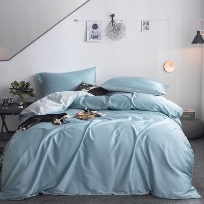 2019新款-60s利丝长绒棉双拼四件套 床单款1.5m(5英尺)床 远天蓝