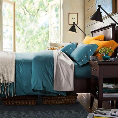 2019新款-TJ1507-60s纯色长绒棉四件套 床单款1.5m(5英尺)床 宝格丽绿
