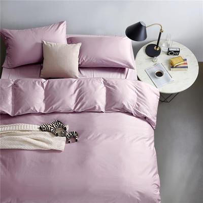 2019新款-TJ1507-60s纯色长绒棉四件套 床单款1.5m(5英尺)床 淡雅紫