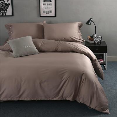 2019新款-TJ1507-60s纯色长绒棉四件套 床单款1.5m(5英尺)床 卡布奇诺咖