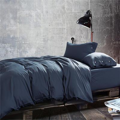 2019新款-TJ1507-60s纯色长绒棉四件套 床单款1.5m(5英尺)床 天蓝灰