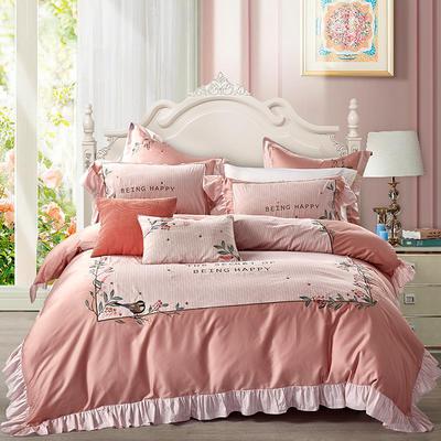 2019新款-TJ1538-60s长绒棉小清新四件套 床单款1.8m(6英尺)床 聆听花语