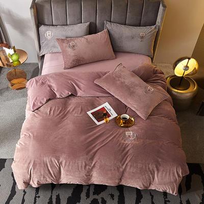 2019新款-TJ1528-维吉尼亚水晶绒四件套 床单款1.5m(5英尺)床 豆沙粉