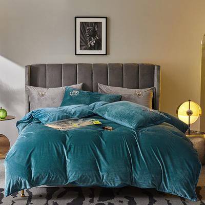 2019新款-TJ1528-维吉尼亚水晶绒四件套 床单款1.5m(5英尺)床 格调蓝