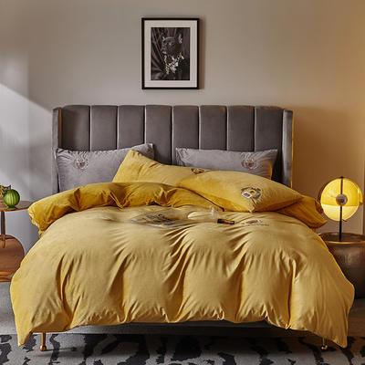 2019新款-TJ1528-维吉尼亚水晶绒四件套 床单款1.5m(5英尺)床 柠檬黄