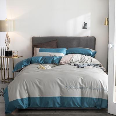 2019新款-TJ1542-60s埃米尔长绒棉绣花四件套 床单款1.5m(5英尺)床 孔雀绿