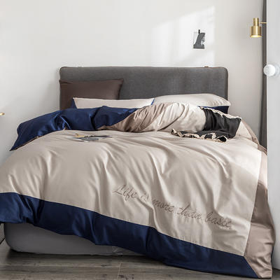 2019新款-TJ1542-60s埃米尔长绒棉绣花四件套 床单款1.5m(5英尺)床 莱茵蓝