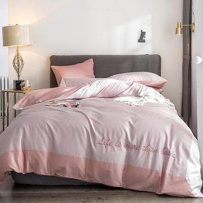 2019新款-TJ1542-60s埃米尔长绒棉绣花四件套 床单款1.5m(5英尺)床 水晶粉