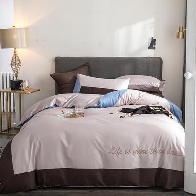 2019新款-TJ1542-60s埃米尔长绒棉绣花四件套 床单款1.5m(5英尺)床 榛果褐