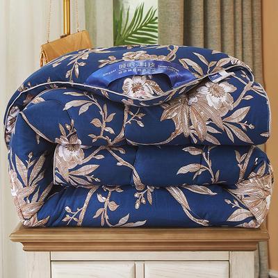2020新款保暖羽丝棉印花冬被被子被芯-皇家风范系列 1.5m款冬被4斤 盛世豪庭宝蓝
