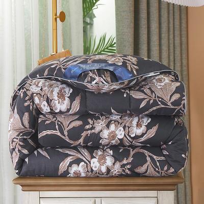 2020新款保暖羽丝棉印花冬被被子被芯-皇家风范系列 1.5m款冬被4斤 盛世豪庭灰