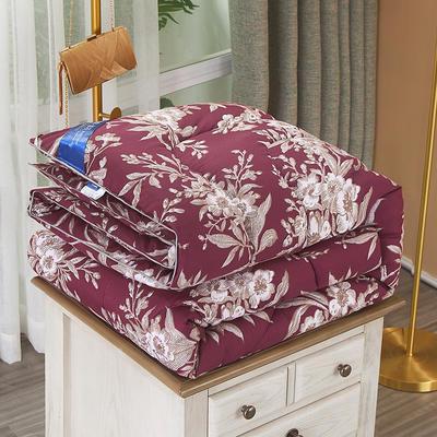 2020新款保暖羽丝棉印花冬被被子被芯-皇家风范系列 1.5m款冬被4斤 盛世豪庭紫红