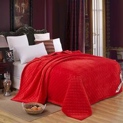 清单家纺 (总)水晶绒绗绣被毯子床垫空调被四季可用简约家居200*230 2.0m(6.6英尺)床 大红