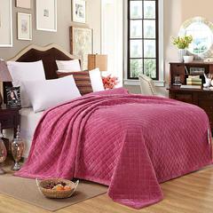 清单家纺 水晶绒绗绣被毯子床垫空调被四季可用简约家居200*230 200*230 豆沙色
