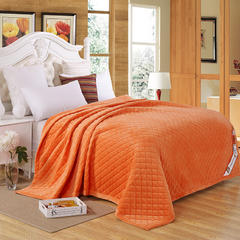 清单家纺 水晶绒绗绣被毯子床垫空调被四季可用简约家居200*230 200cmx230cm 橘黄