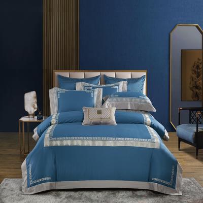 2020新款-居家100支绣花四件套 1.8m床单款四件套 菲拉格慕 月光蓝